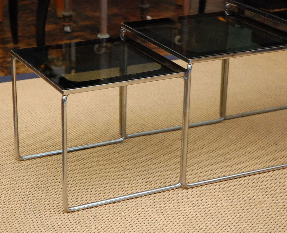 Set Of Smoked Glass And Chrome 70 39 S Nesting Tables For