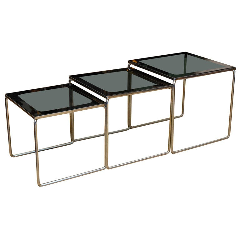 Set of smoked glass and chrome s nesting tables for