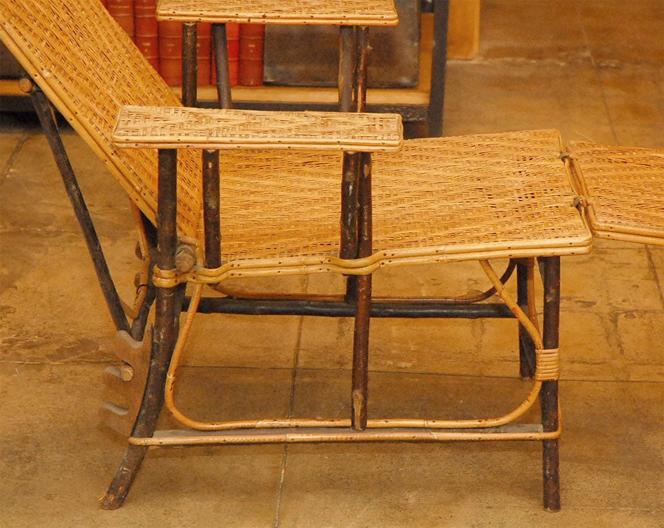 Wicker chaise lounge at 1stdibs for Bamboo chaise lounge