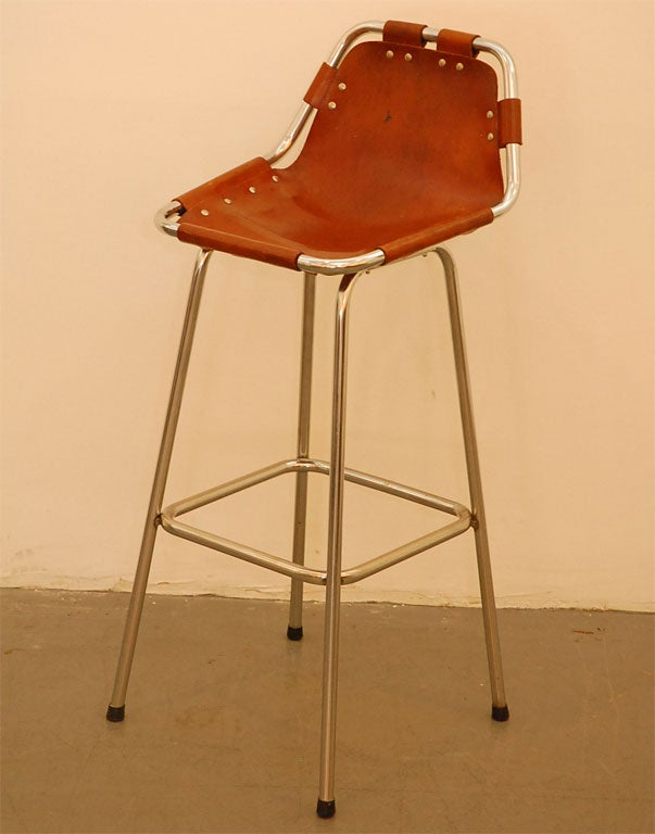 Leather Charlotte Perriand Barstool For Sale