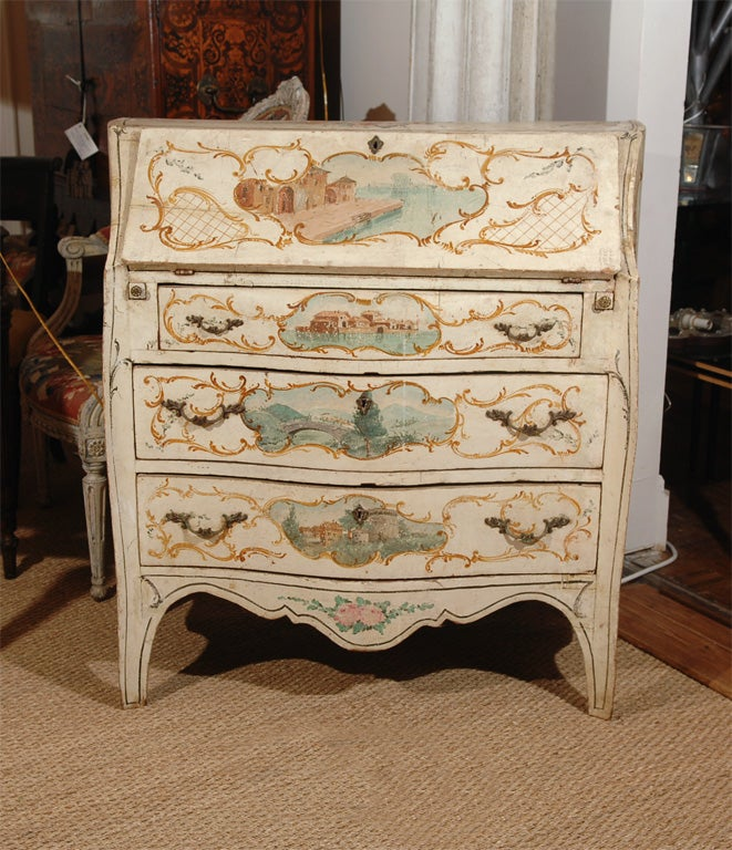 18th century italian polychrome bureau with original paint. Black Bedroom Furniture Sets. Home Design Ideas