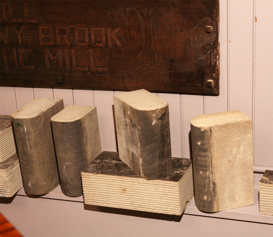 Set carved stone books at stdibs