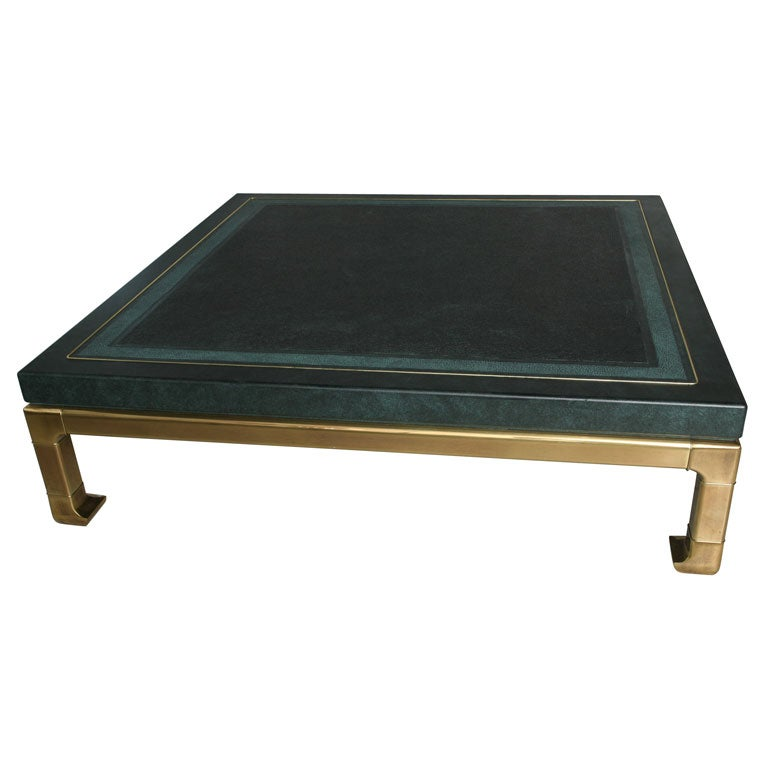 huge mastercraft coffee table faux shagreen at 1stdibs