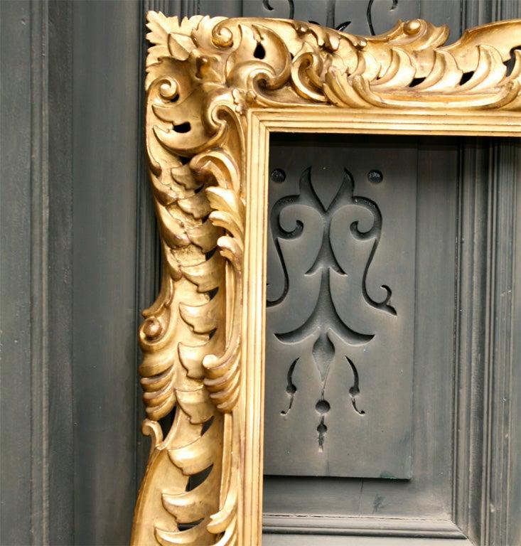 19 C Italian Carved wood Gilt Frame  4