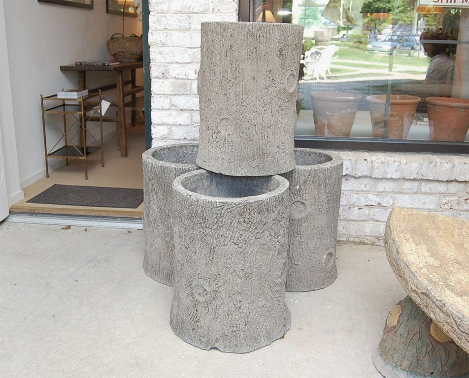 1920 39 S French Faux Bois Concrete Planters At 1stdibs