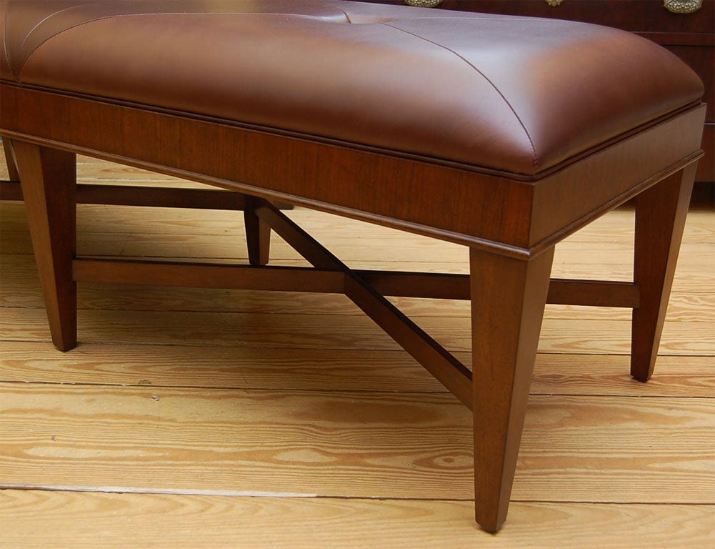 Walnut Bench With Leather Top At 1stdibs