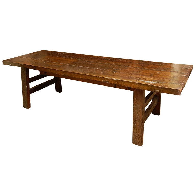Natural Elmwood Chinese Bench At 1stdibs