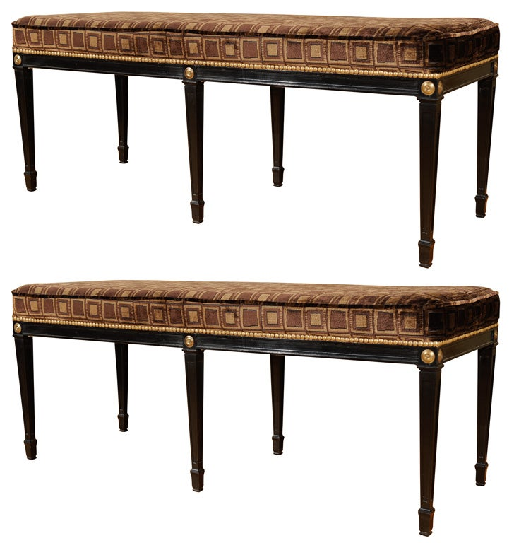 Neoclassical Ebonized Banquet Bench At 1stdibs