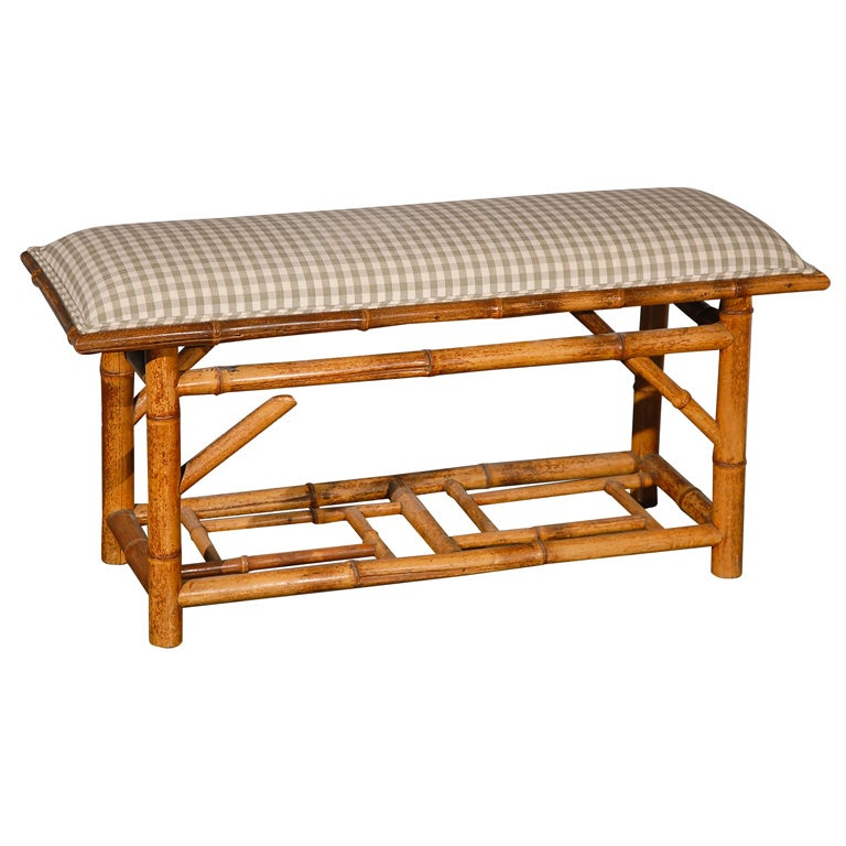 Bamboo Upholstered Window Bench At 1stdibs