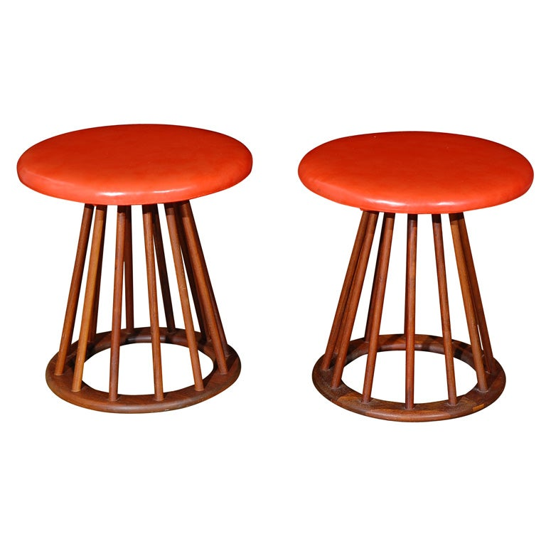 Set Of 4 Walnut Spindle And Upholstered Stools At 1stdibs