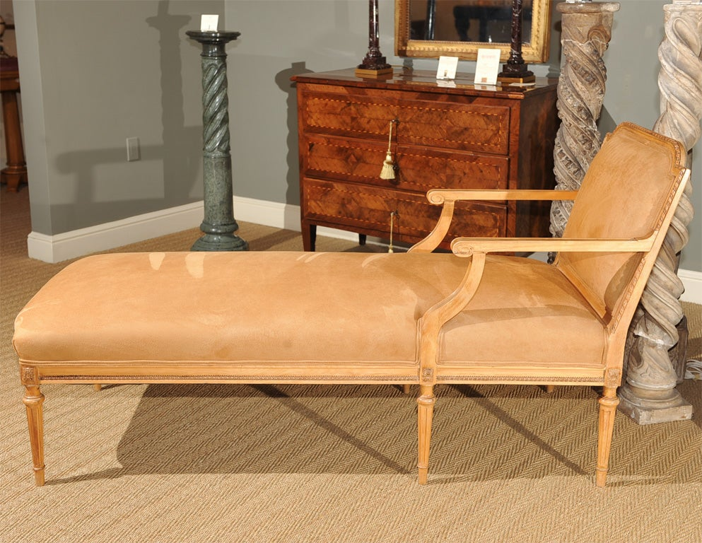 carved louis xvi style pecan chaise at 1stdibs