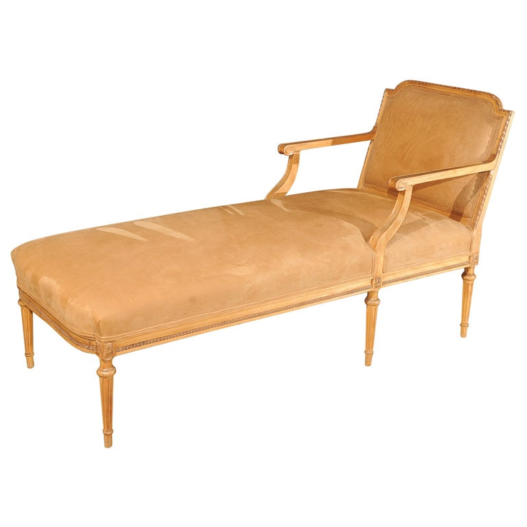 Hand Carved Louis Xvi Style Pecan Chaise At 1stdibs