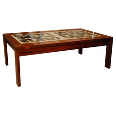 Brasilian Rosewood Coffee Table with Abstract Design Tiles