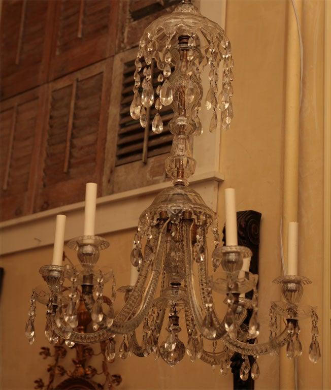 English Georgian Six-Light Crystal Chandelier For Sale