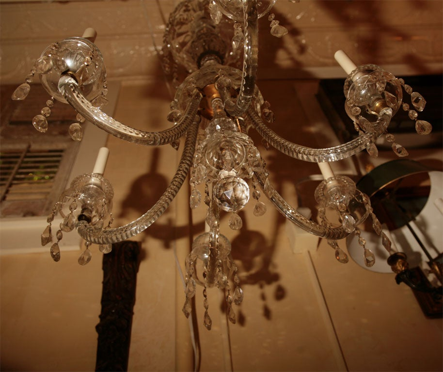 Georgian Six-Light Crystal Chandelier In Good Condition For Sale In Hudson, NY