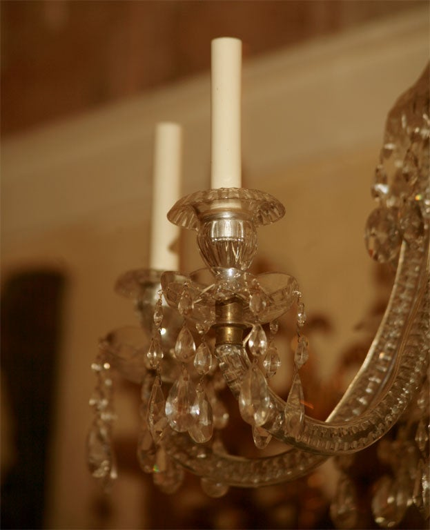 18th Century Georgian Six-Light Crystal Chandelier For Sale