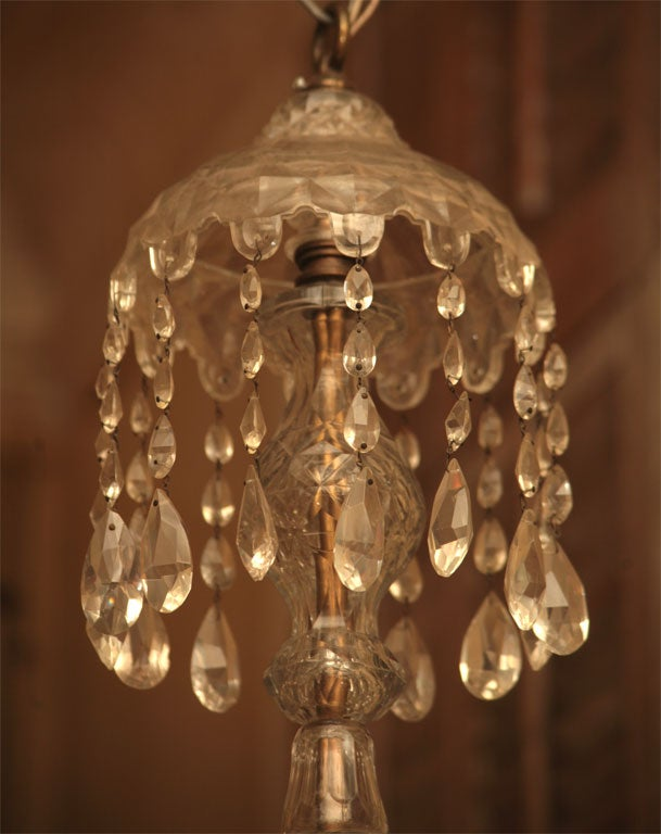 Georgian Six-Light Crystal Chandelier For Sale 1