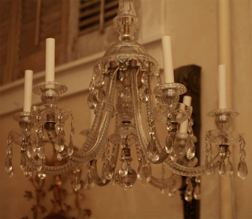 Georgian Six-Light Crystal Chandelier For Sale 3