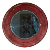 19THC FOLKY ORIGINAL RED  PAINTED WOOD FRAME SHIP MIRROR