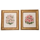 Pair of Antique Lithographs of Floral Bouquets