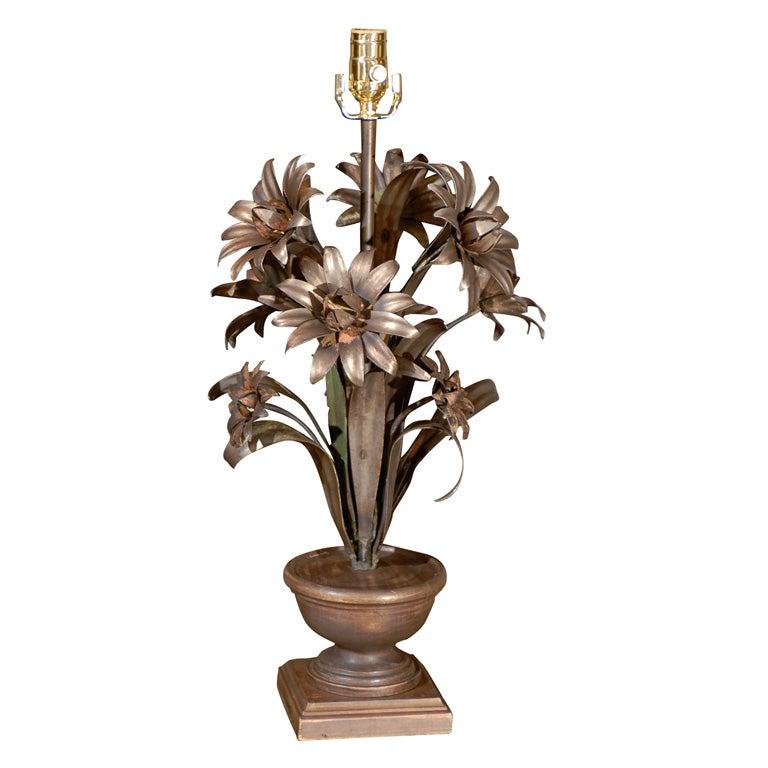 Metal Floral Arrangement As Lamp At 1stdibs