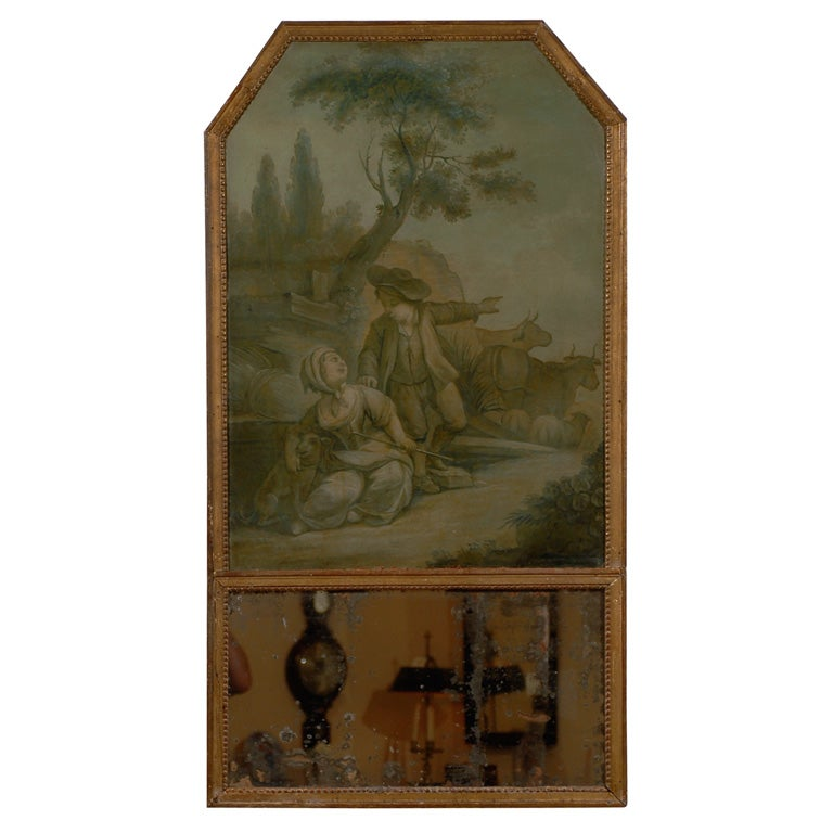 19th Century Trumeau Mirror with Grisaille Painting, France.