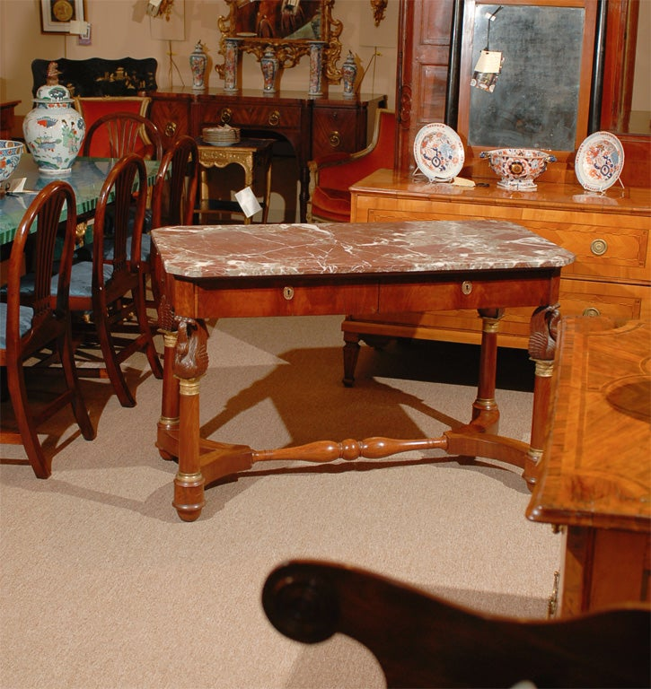 19th century french empire center table with marble top for Table th center