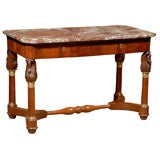 19th century French Empire Center Table with Marble Top