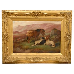 Robert Cleminson 19th Century Landscape Oil Painting with Horse and Dogs
