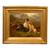 19 th.c.English oil painting of sporting dogs