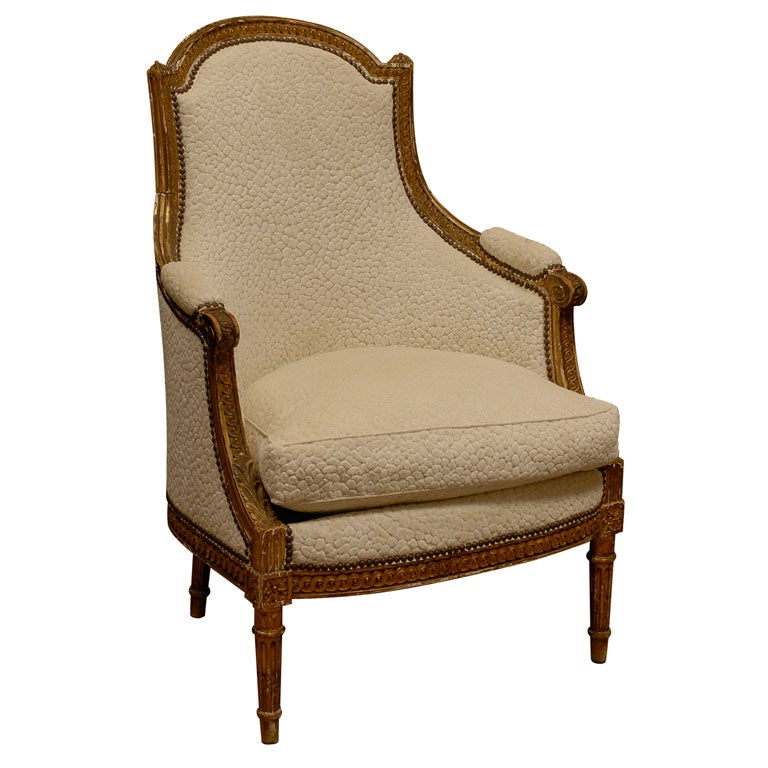 19th c louis xvi syle giltwood bergere chair at 1stdibs. Black Bedroom Furniture Sets. Home Design Ideas