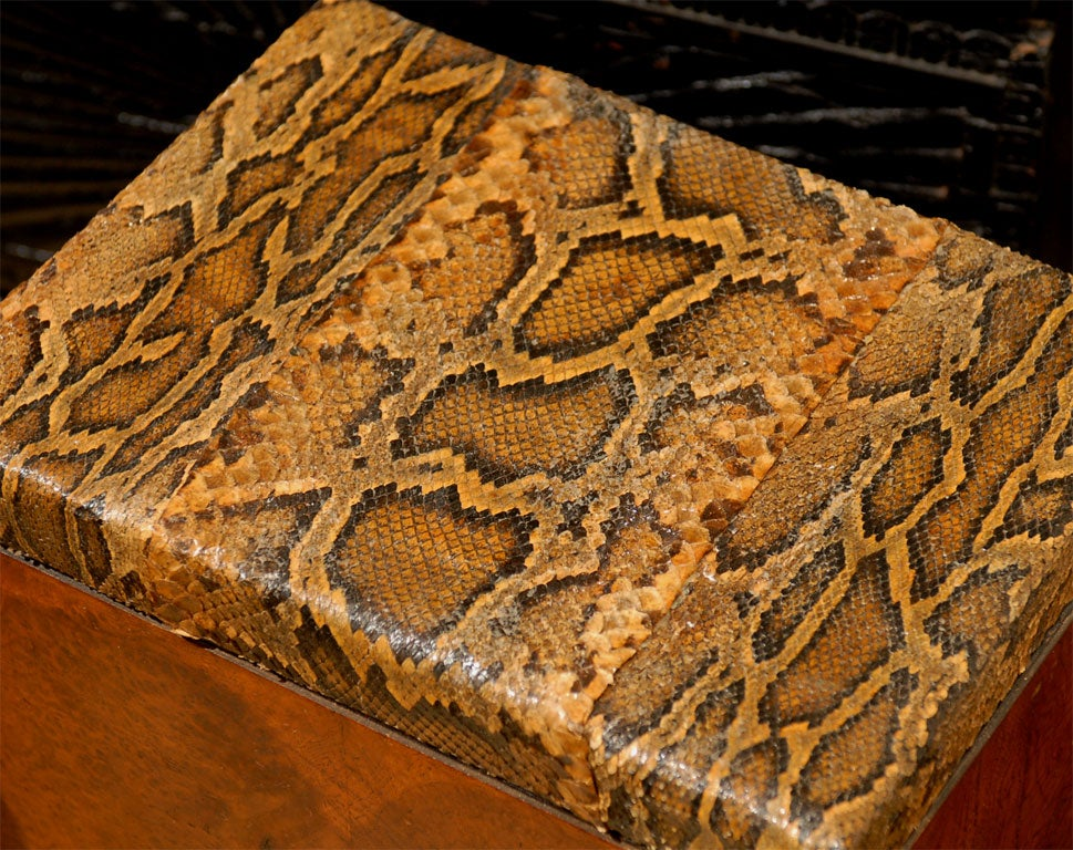 Pair of burled wood side tables with python skin tops at for Table in python