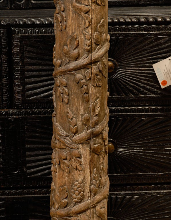 Thc italian carved wood column with capital at stdibs