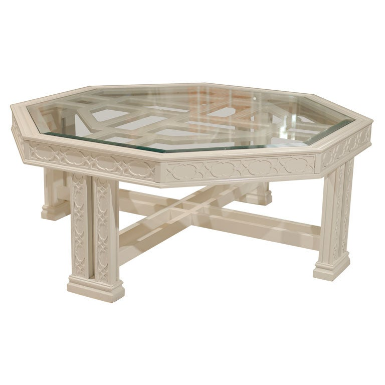 Octagonal fretwork coffee table at 1stdibs for Octagon coffee table