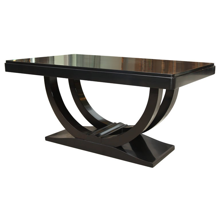 Art Deco Dining Table In Ebonized Walnut At 1stdibs