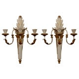 20th Century Italian Three-Arm Gilt & Wood & Tole Sconces