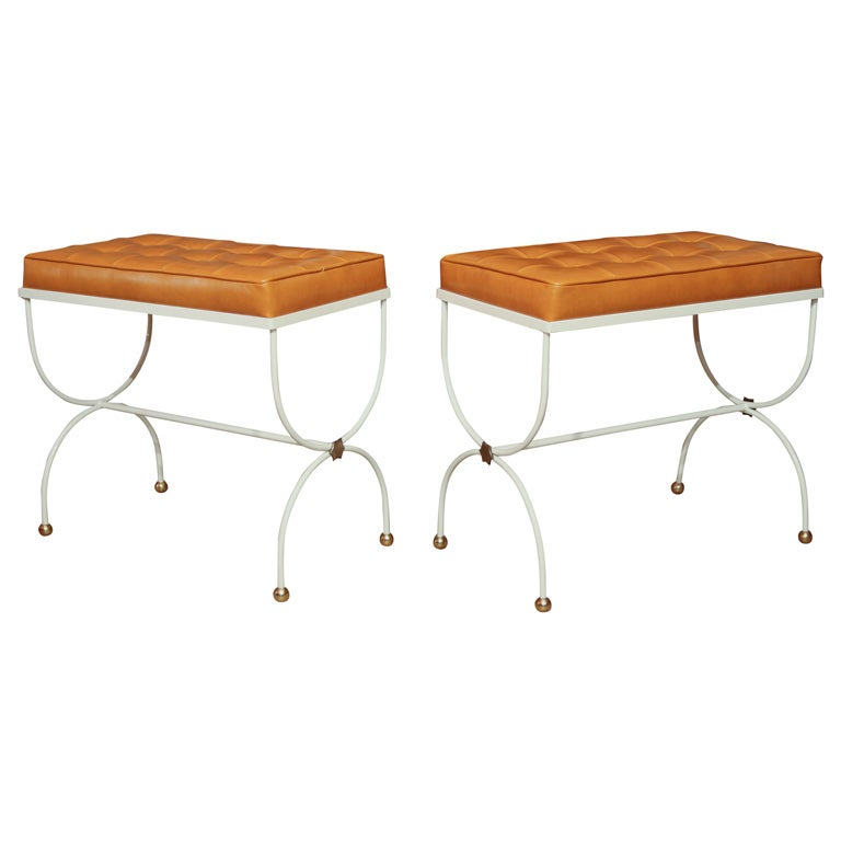 Pair Of Jacques Adnet Stools At 1stdibs