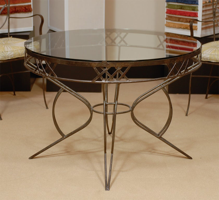 Very unique table and four chairs in iron and glass at 1stdibs for Very small dining sets