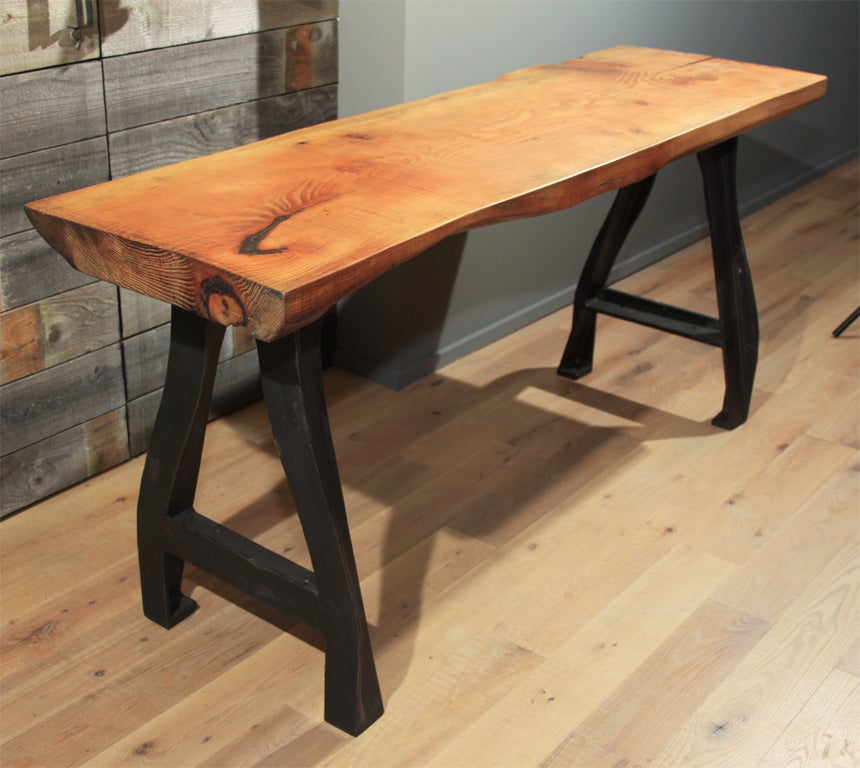 Natural Wood Table With Industrial Metal Legs At 1stdibs