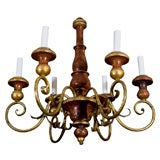 Six light painted wood and iron chandelier