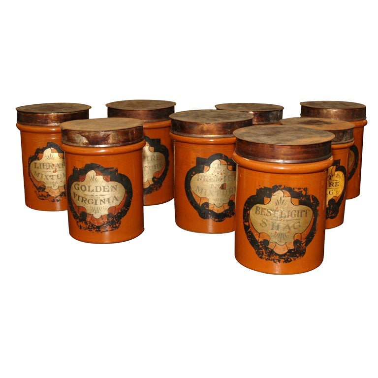 Set Of Eight Pottery Tobacconist Canisters At 1stdibs