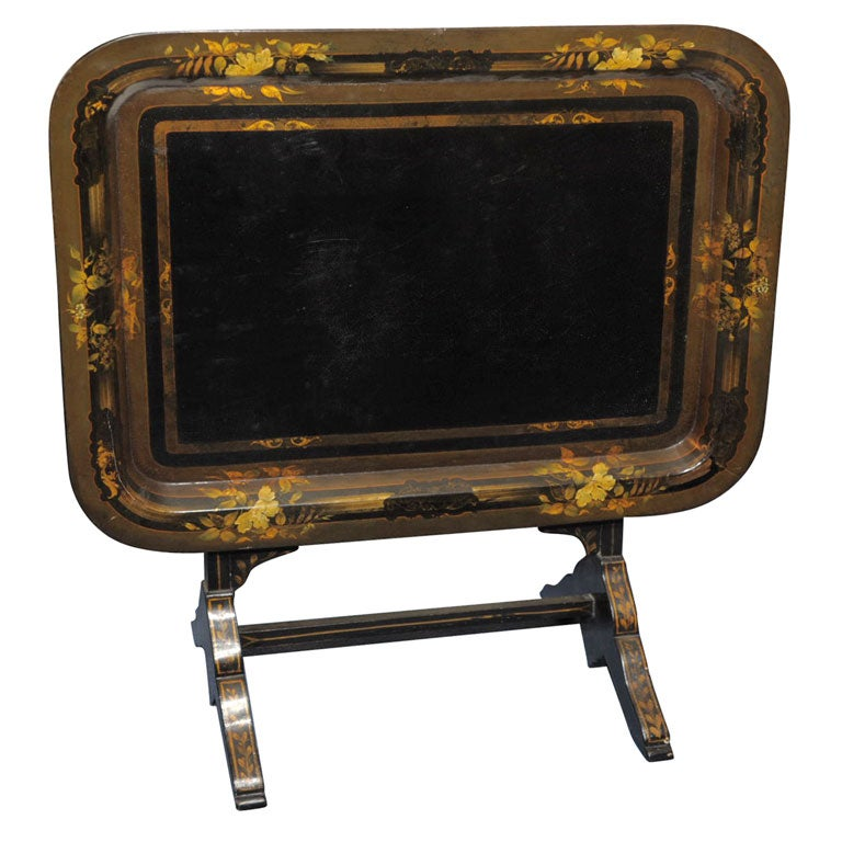 Victorian Ebonized And Polychrome Decorated Paper M Ch Tray At 1stdibs