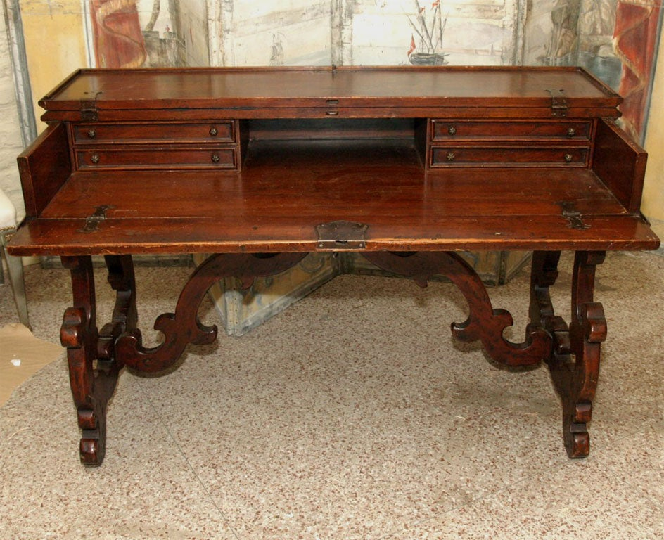 Carved 19th Century Italian Writing Table or Desk For Sale
