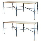 Pair of Patinated & Gilt-Metal Console Tables