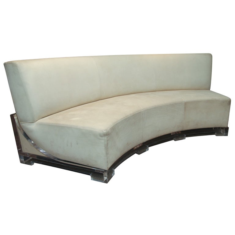An Amazing Italian Semi Circular Leather And Lucite Sofa At 1stdibs