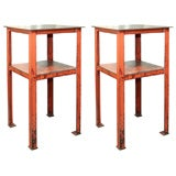 A Pair of Industrial two tiered side tables/pedestals