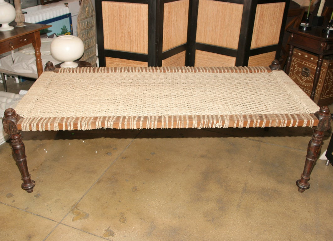 Woven Bed Coffee Table On Carved Wooden Frame At 1stdibs