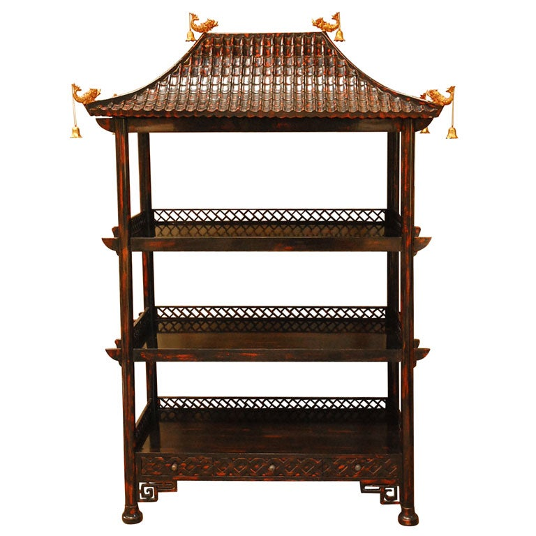 Chinoiserie Lacquer Etagere At 1stdibs