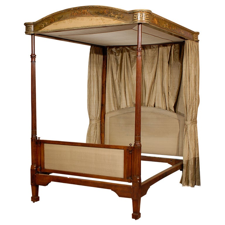 a george iii mahogany and painted four post tester bed ca. Black Bedroom Furniture Sets. Home Design Ideas