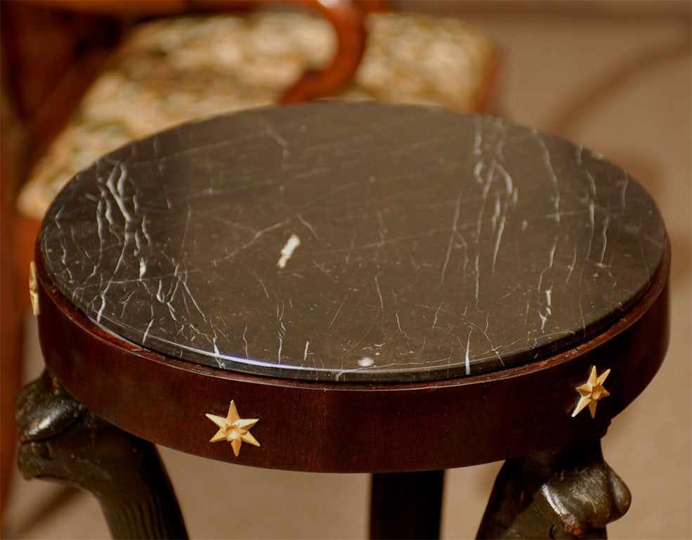 French 19th Century Ebonized Pedestal with Eagles & Marble Top For Sale